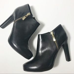 Marc Fisher Black & Gold Bootie Heels
